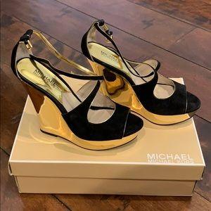 Michael Kors gold wedges